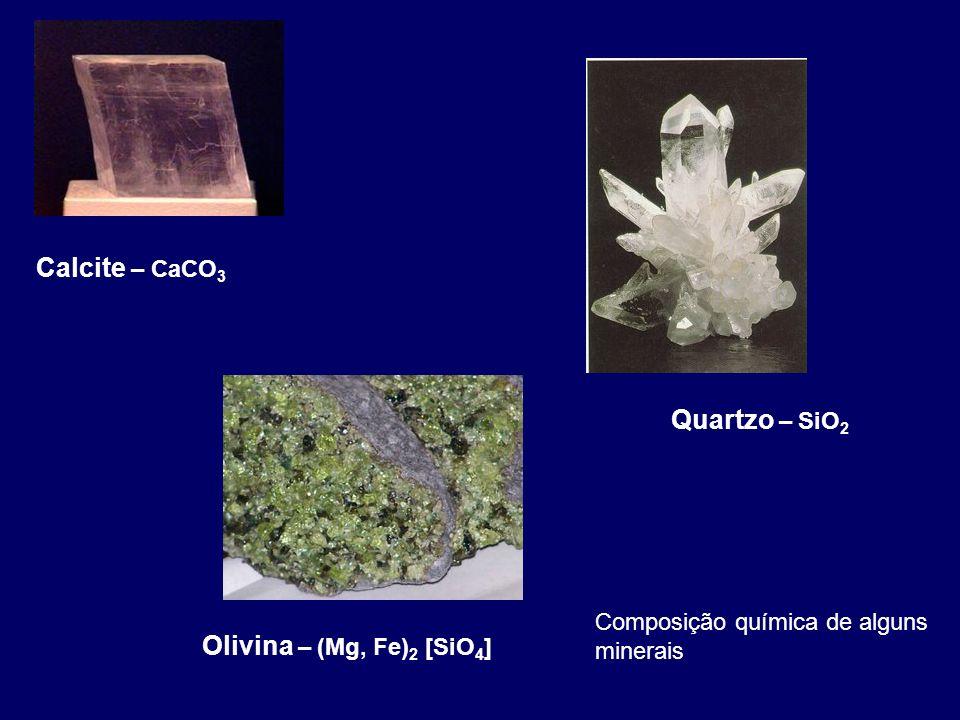 Calcite – CaCO3 Quartzo – SiO2 Olivina – (Mg, Fe)2 [SiO4]